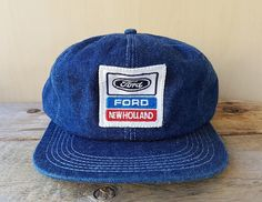 d8af707c Vintage 80s Ford NEW HOLLAND Tractors Original Blue Denim Trucker Snapback Hat  Foam Insulated Promo Cap K Products Made in USA Rare Ballcap