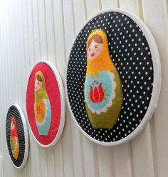 Matryoshka Dolls Appliqued White Wooden Embroidery by sesideco, $50.00