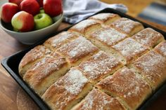 Langpannebrod med apple Swedish Recipes, Fika, Bread Baking, Banana Bread, Biscuits, French Toast, Sandwiches, Rolls, Food And Drink