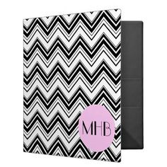 Monogram - Zigzag Pattern Chevron - Black Pink Binder - monogram gifts unique design style monogrammed diy cyo customize