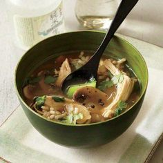 Chicken and Rice Soup with Lemon and Ginger   CookingLight.com