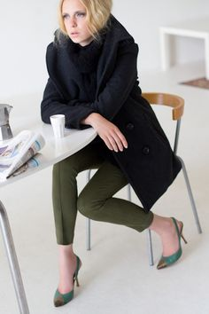 Peacoat Charcoal Wool, Wool Knit Gillet, Rider Pant Army Green, Toe Patch Slingback Bronze & Racing Green Fall 2012