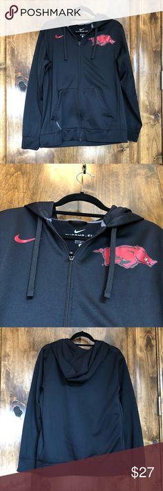Black Nike Arkansas Razorback Hoodie Size M Great condition.  Therma fit.  Warm with fleece lining. Nike Shirts Sweatshirts & Hoodies