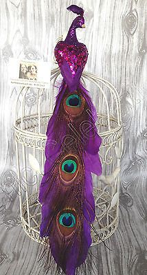 "CHIC_CELEBRATIONS© 16"" Peacock Christmas Tree Topper Purple Mica Ornament Decor"