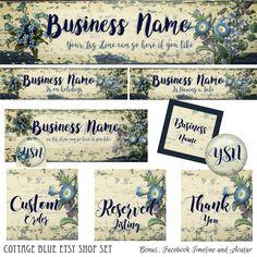 Etsy Shop Set and Bonus Facebook Timeline, Cottage Blue Set, Shop Decor, Etsy Header, Etsy Banner, Facebook Timeline, Avatars, Digital Set, by PremadeLogoShop on Etsy