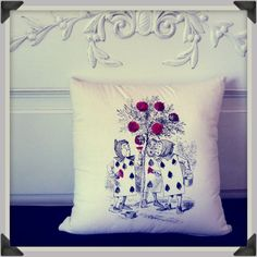 """Alice in Wonderland """"Roses are Red"""" Decorative Pillow."""