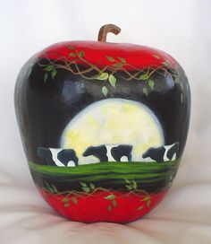 Cows By Moonlight Apple Gourd  Hand Painted by FromGramsHouse,