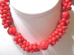 ORANGE-RED-BEADED-INTRICATE-NECKLACE-SIGNED-WESTERN-GERMANY-VINTAGE-GLASS