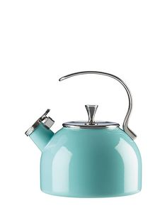 this stylish turquoise kettle is so good-looking, you'll want to leave it atop your stove for decoration even when you're not boiling water.