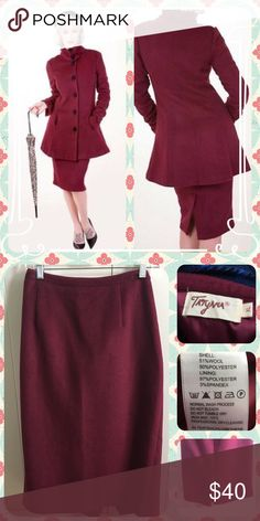 """Tatyana Divine Wine Vintage-inspired Pencil Skirt Here we have a gorgeous 1940s style burgundy Bettie Page wool pencil skirt. It's very warm and perfect for the pinup bearing colder weather. Very soft too. goes down below the knees and has a hidden side zipper. The measurements are as follows: Waist 32"""" Hips 43"""" Length 28"""" Tatyana Skirts Pencil"""