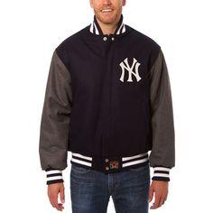 New York Yankees JH Design Two-Tone Wool Jacket - Navy/Gray