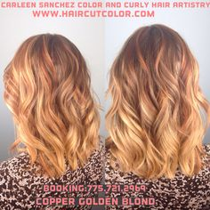 Copper golden blond Balayage highlight fusion by Carleen Sanchez