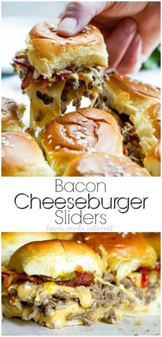 This easy Bacon Cheeseburger Sliders recipe is an appetizer recipe that is baked in the oven. These simple sliders are filled with ground beef, cheese, bacon, and your favorite burger toppings all on toasted Hawaiian rolls. This is a great recipes for par Cheese Burger, Burger Toppings, Burger Recipes, Burger Seasoning, Cheese Fries, Cheese Sauce, Hot Sandwich Recipes, Burger Ideas, Seasoning Recipe