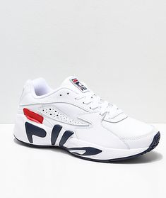 buy popular d3122 91e11 FILA Mindblower White, Navy   Red Leather Shoes