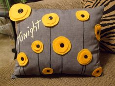 TONIGHT / NOT TONIGHT Yellow Poppy recycled felt pillow by zell06, $39.00