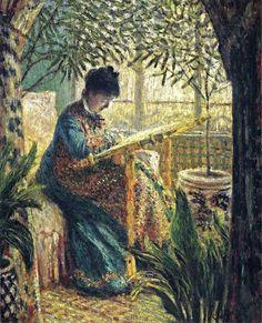 Claude Monet, Madame Monet embroidering, 1875 on ArtStack #claude-monet #art