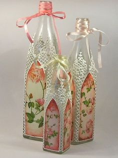 Awesome way to decorate wine bottles for a completely different and elegant look.