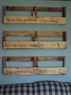 Pallet shelves.  This is a cool idea.  You could also put over sized family black and white photos in the slots.