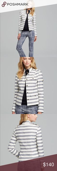 Tory Burch Sergeant Jacket A cotton inspired twill jacket with a feminine fit and military details. Details include: stand collar, epaulettes, long sleeves with tab cuffs, patch pockets, button front, and princess seams. NWT. My sister bought the black quilted version and prefers that one (she loves black) *Open to Reasonable Offers* Tory Burch Jackets & Coats