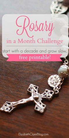 Free printable with daily checklists. Learn to pray the Catholic Rosary in a month - perfect for the Rosary newbie!