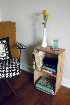 Crate side table- I stacked two crates like this for when I come in my front door...use it for shoes on bottom and purse/dog leash in top one :)