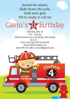 Fireman Birthday Party Invitation for kids by TBoneSquid on Etsy, $15.00  Cute, love the wording!