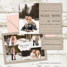Custom photo wedding invitations.  Blush pink, tan and black. Winter engagements and photo layout on the back.