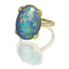 Opal, diamond and gold ring by Ivy New York