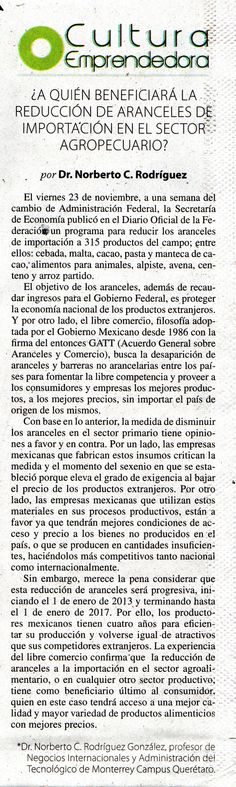 Dr. Norberto C. Rodríguez González, profesor de Negocios Internacionales y Administración del Tecnológico de Monterrey Campus Querétaro. Crea una nota sobre la reducción de Aranceles  de importación en el sector agropecuario