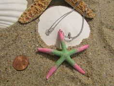 Item: Pink And Mint Julep Green Glittered Finger Starfish Mermaid Necklace  Necklace Description: Stainless Steel Chain, Size 1.5 mm, Approx. 17 inches long with Lobster Clasp https://www.etsy.com/shop/HeavenlyMermaidHair