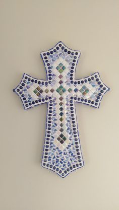 Blue Mosaic Cross by ArtsMaineMosaics on Etsy