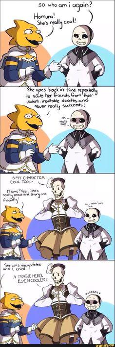 Alphys, Sans, and Papyrus - comic - Madoka Magica parody -  decapitated ... OMG WHEN U KILL PAPYRUS HIS HEAD FALLS DOWN , I GET IT NOW .....