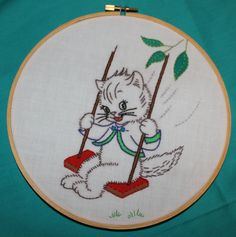Embroidery Hoop Wall Art Cat on a Swing so sweet.