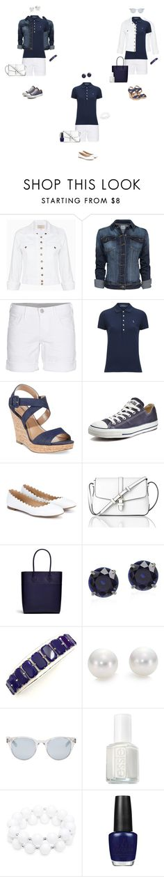 """Blue polo/white shorts"" by tracy-gowen ❤ liked on Polyvore featuring Current/Elliott, MANGO, True Religion, Polo Ralph Lauren, Style & Co., Converse, Chloé, L.K.Bennett, Rebecca Minkoff and Mikimoto"