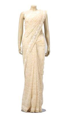 Ivory Zari Half Silk Jamdani Saree