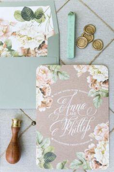 ボタニカルなイラストで作る招待状もとってもキュート♡結婚式で使えるイラスト素材例♪