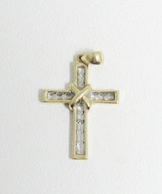10K Karat Gold Diamonds Cross Pendant Christian by AntiquesduJour