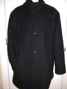 TURNBURY Mens 3X Wool Black Lined Trench Pea Coat Jacket VERY SOFT & WARM EUC  #Turnbury #Peacoat