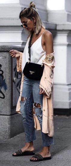 boho chic top + blush cape + bag + ripped jeans + flip flop