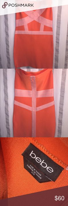 Bebe bodycon mini dress size medium In great condition! Bebe bodycon dress. Size Medium. Orange and pink. Perfect sexy summer dress. Great material. trades. bebe Dresses Mini
