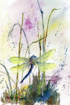 points of interest Watercolor Canvas, Easy Watercolor, Watercolor Animals, Watercolor Flowers, Watercolor Paintings, Watercolours, Dragonfly Painting, Dragonfly Art, Art Lessons