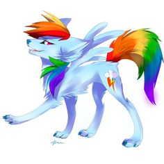 Wolf Rainbow dash by *Affanita on deviantART. I'm not really an MLP fan, but… Arte My Little Pony, Dessin My Little Pony, My Little Pony Cartoon, My Little Pony Drawing, My Little Pony Pictures, Mlp My Little Pony, My Little Pony Friendship, Rainbow Dash, Little Poni