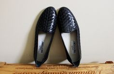 vintage shoes flats black leather woven slip by diaphanousvintage