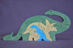 Long Neck Triceratops  Dinosaur Family Set Animal by Puzzimals
