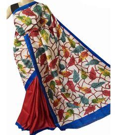 Multi Color Handpainted Tussar Silk Saree