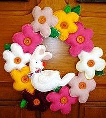 spring flowers, artesanato, guirlanda, flower easter, de páscoa, felt easter, easter wreaths, blog, easter bunny