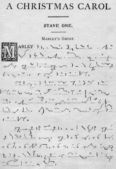 Pitman shorthand (Charles Dickens' A Christmas Carol) Pitman Shorthand, Shorthand Writing, Script, Greggs, Christmas Carol, Science Fiction, Nostalgia, Coding, Lettering