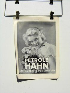 Vintage Hahn Hair and Beauty Oil French Ad Art by PaperWoodVintage, $8.00