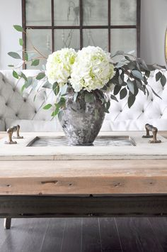 hydrangea in a jar, change accent greenery with the seasons. Dining Room Tour - Decor Gold Designs