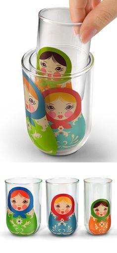 Matryoshka stacking cups